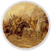 The Charge Of The Bengal Lancers At Neuve Chapelle Round Beach Towel