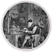 The Chemist, 17th Century Round Beach Towel