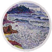 The Choppy Sea Round Beach Towel by Henri-Edmond Cross