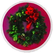 The Christmas Wreath Round Beach Towel