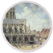 The Church Of Saint Jacques In Dieppe Round Beach Towel by Camille Pissarro