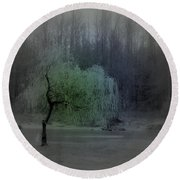 The Circle Green - Tree By The River Round Beach Towel