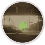 The Circle Green - Urban Perspective Round Beach Towel