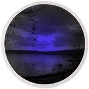 The Circle Violet Lake  Round Beach Towel