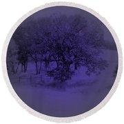 The Circle Violet Tree Round Beach Towel