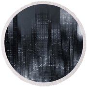 The City Comes Alive At Night Round Beach Towel