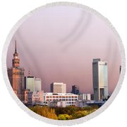 The City Of Warsaw Round Beach Towel
