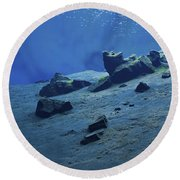 The Clear Water Of The Lagoon At Silfra Round Beach Towel