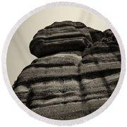 The Cliff Bw Round Beach Towel