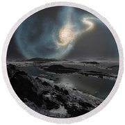 The Collision Of The Milky Way Round Beach Towel by Ron Miller