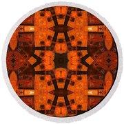 The Color Orange Mandala Abstract Round Beach Towel