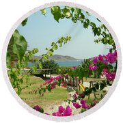 The Colors Of Paros Round Beach Towel