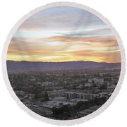 The Colors Of The Sky Over San Jose At Sunset Round Beach Towel by Ashish Agarwal