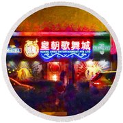 The Colours Of Singapore Nights Round Beach Towel