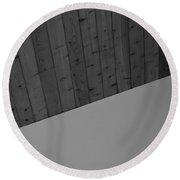 The Corner In Black And White Round Beach Towel