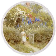 The Cottage Gate Round Beach Towel