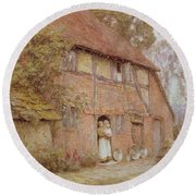 The Cottage With Beehives Round Beach Towel