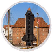 The Crane In Gdansk Round Beach Towel