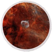 The Crescent Nebula With Soap-bubble Round Beach Towel by Rolf Geissinger