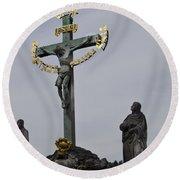 The Crucifix And Calvary - Prague Round Beach Towel