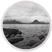 The Cuillin's In The Mist Round Beach Towel