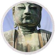 The Daibutsu Or Great Buddha, Close Up Round Beach Towel