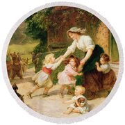 The Dancing Bear Round Beach Towel by Frederick Morgan