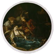 The Death Of Lucretia - Mid 1640s  Round Beach Towel by Harmensz van Rijn Rembrandt