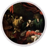 The Death Of The Virgin Round Beach Towel by Caravaggio