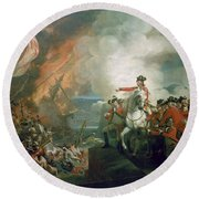 The Defear Of The Floating Batteries At Gibraltar Round Beach Towel