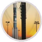 The Delta II Rocket On Its Launch Pad Round Beach Towel