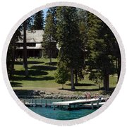 The Dock At Sugar Pine Point State Park Round Beach Towel