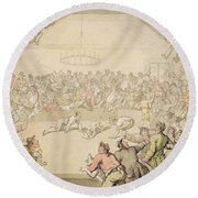The Dog Fight Round Beach Towel