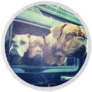 The Dog Taxi Is A Hummer Round Beach Towel by Nina Prommer