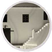 The Door Of The Chappel Bw Round Beach Towel