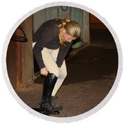 The Dressage Boots Round Beach Towel