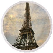 The Eiffel Tower Round Beach Towel by Laurie Search