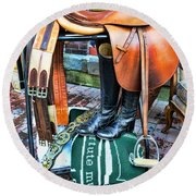 The English Saddle Round Beach Towel by Paul Ward