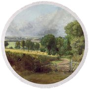 The Entrance To Fen Lane By Constable John Round Beach Towel