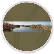 The Erie Canal Crossing The Genesee River Round Beach Towel
