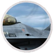 The F-16 Aircraft Of The Belgian Army Round Beach Towel