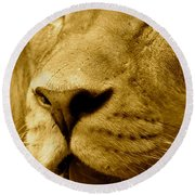 The Face Of God In Sepia Tones Round Beach Towel