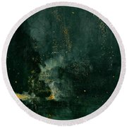 The Falling Rocket Round Beach Towel by James Abbott Whistler