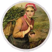 The Fern Gatherer Round Beach Towel