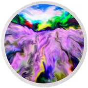 The Field Of Lavender Round Beach Towel