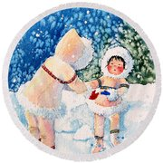 The Figure Skater 2 Round Beach Towel