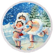 The Figure Skater 4 Round Beach Towel
