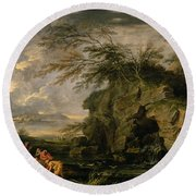 The Finding Of Moses Round Beach Towel by Salvator Rosa