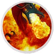The Fire Dragon Round Beach Towel