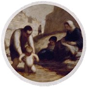 The First Bath  Round Beach Towel by Honore Daumier